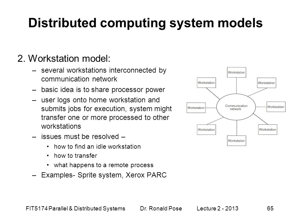 FIT5174 Parallel & Distributed Systems Dr. Ronald Pose Lecture 2 - 201365 Distributed computing system models 2. Workstation model: –several workstati