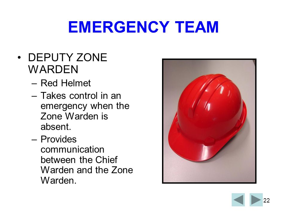 21 EMERGENCY TEAM ZONE WARDEN: –Yellow Helmet –Zone wardens are in control of proceedings during emergencies.