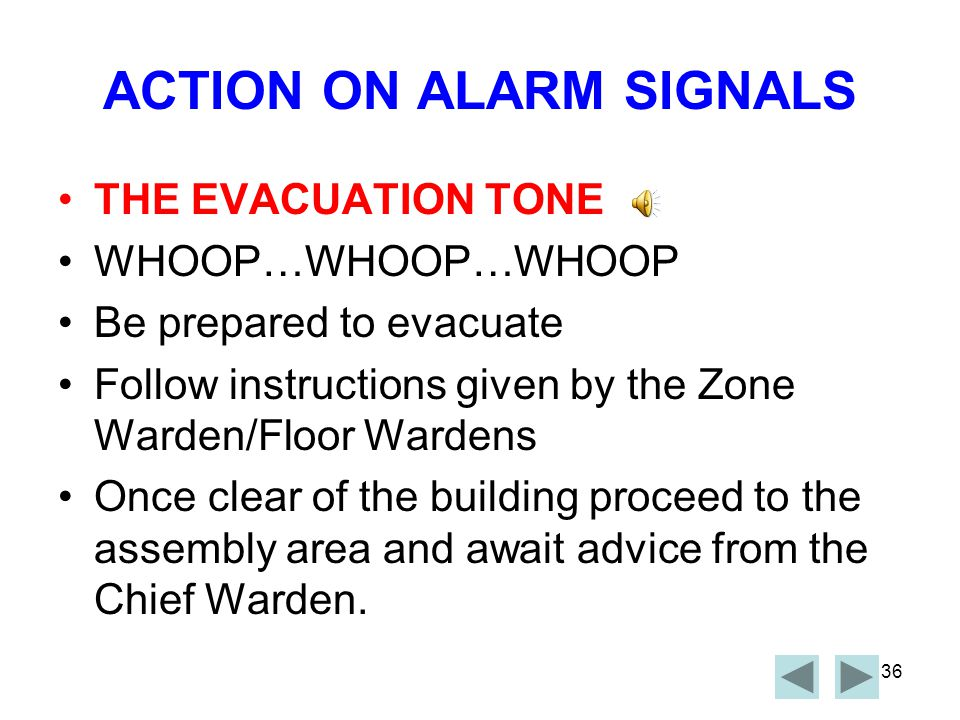 35 ACTIONS ON ALARM SIGNALS THE ALERT TONE BEEP………BEEP………BEEP Secure confidential work material Collect Personal Effects Proceed to the entry door to the Fire Exit.
