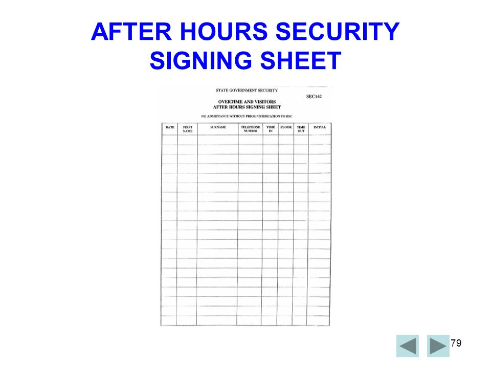 78 AFTER HOURS SECURITY It is important that all staff be aware of signing the After Hours Signing Sheet, that is located on the counter of the Security desk on level 3 of the Neville Bonner Building, if they are working after 6pm weekdays, or any time on the weekend.