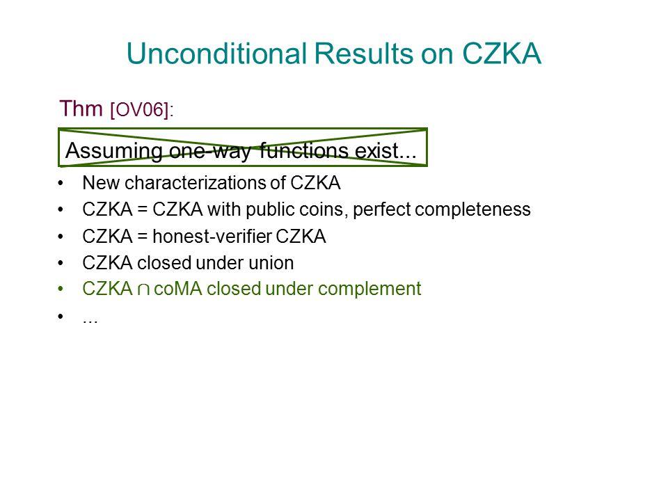 Unconditional Results on CZKA New characterizations of CZKA CZKA = CZKA with public coins, perfect completeness CZKA = honest-verifier CZKA CZKA closed under union CZKA Å coMA closed under complement...