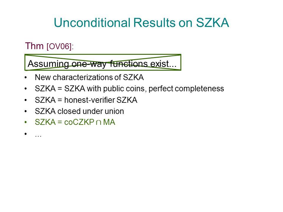 Unconditional Results on SZKA New characterizations of SZKA SZKA = SZKA with public coins, perfect completeness SZKA = honest-verifier SZKA SZKA closed under union SZKA = coCZKP Å MA...
