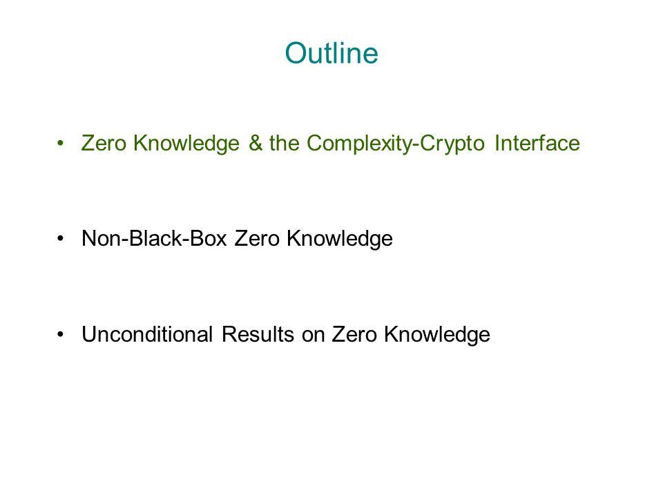 Outline Zero Knowledge & the Complexity-Crypto Interface Non-Black-Box Zero Knowledge Unconditional Results on Zero Knowledge