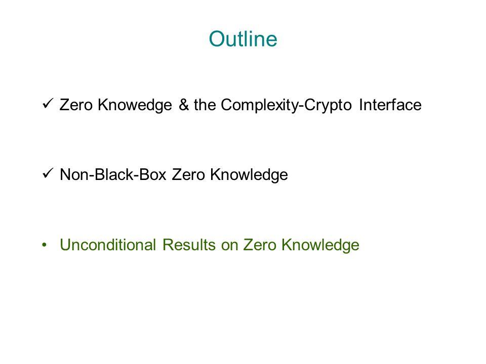 Outline Zero Knowedge & the Complexity-Crypto Interface Non-Black-Box Zero Knowledge Unconditional Results on Zero Knowledge