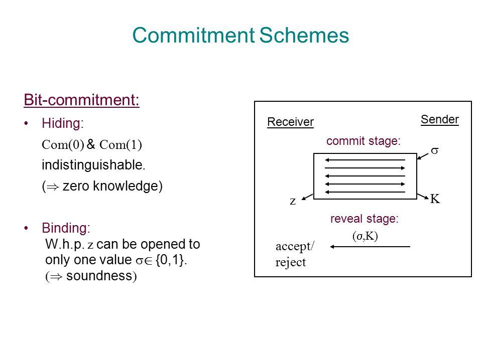 Commitment Schemes Bit-commitment: Hiding: Com(  ) & Com(  ) indistinguishable.