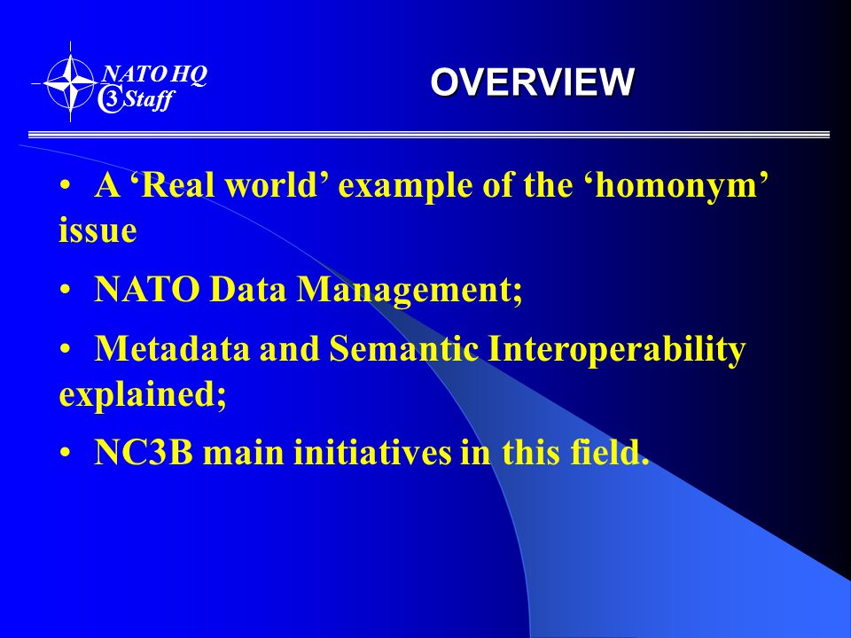 OVERVIEW NATO HQ C 3 Staff A 'Real world' example of the 'homonym' issue NATO Data Management; Metadata and Semantic Interoperability explained; NC3B main initiatives in this field.