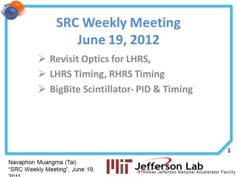 """Navaphon Muangma (Tai) """"SRC Weekly Meeting"""", June 19, 2011 SRC Weekly Meeting June 19, 2012  Revisit Optics for LHRS,  LHRS Timing, RHRS Timing  Bi"""