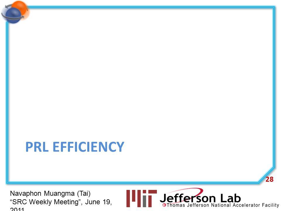 Navaphon Muangma (Tai) SRC Weekly Meeting , June 19, 2011 PRL EFFICIENCY 28