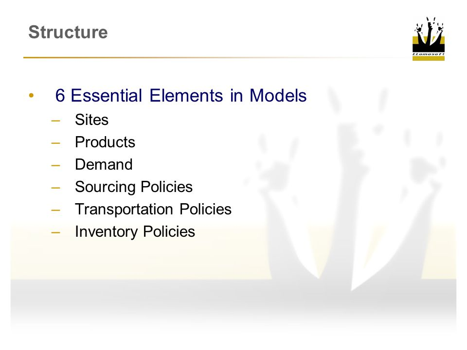 Structure 6 Essential Elements in Models –Sites –Products –Demand –Sourcing Policies –Transportation Policies –Inventory Policies