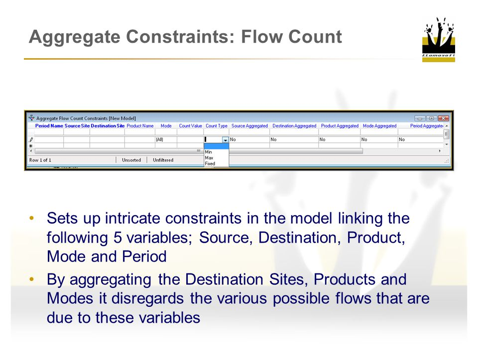 Aggregate Constraints: Flow Count Sets up intricate constraints in the model linking the following 5 variables; Source, Destination, Product, Mode and Period By aggregating the Destination Sites, Products and Modes it disregards the various possible flows that are due to these variables