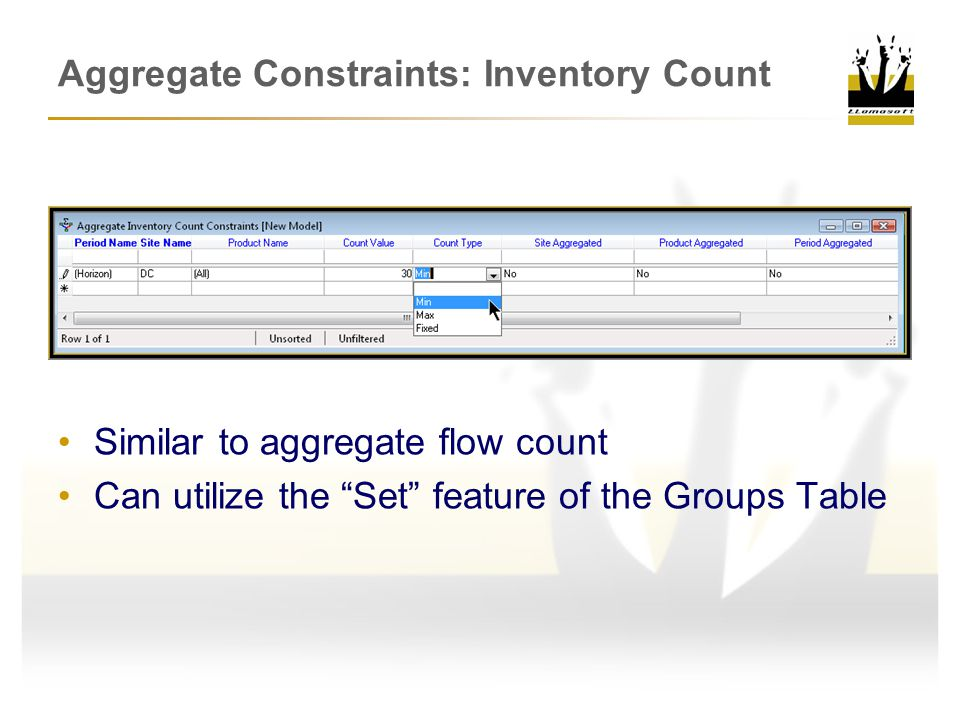 Aggregate Constraints: Inventory Count Similar to aggregate flow count Can utilize the Set feature of the Groups Table