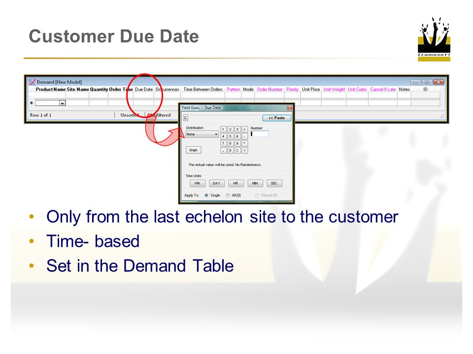 Only from the last echelon site to the customer Time- based Set in the Demand Table