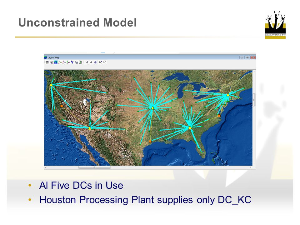 Unconstrained Model Al Five DCs in Use Houston Processing Plant supplies only DC_KC