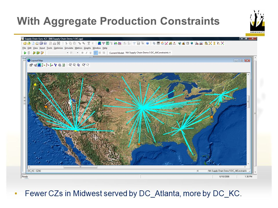 With Aggregate Production Constraints Fewer CZs in Midwest served by DC_Atlanta, more by DC_KC.