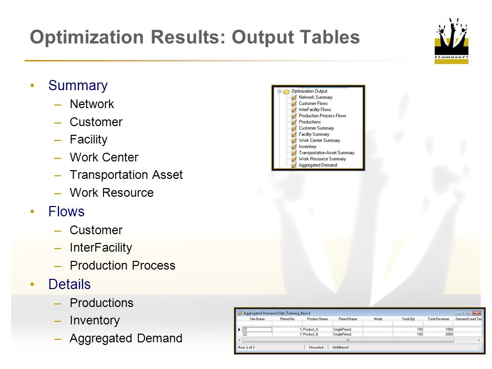 Optimization Results: Output Tables Summary –Network –Customer –Facility –Work Center –Transportation Asset –Work Resource Flows –Customer –InterFacility –Production Process Details –Productions –Inventory –Aggregated Demand