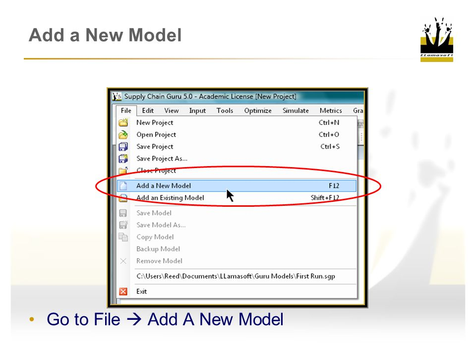 Add a New Model Go to File  Add A New Model