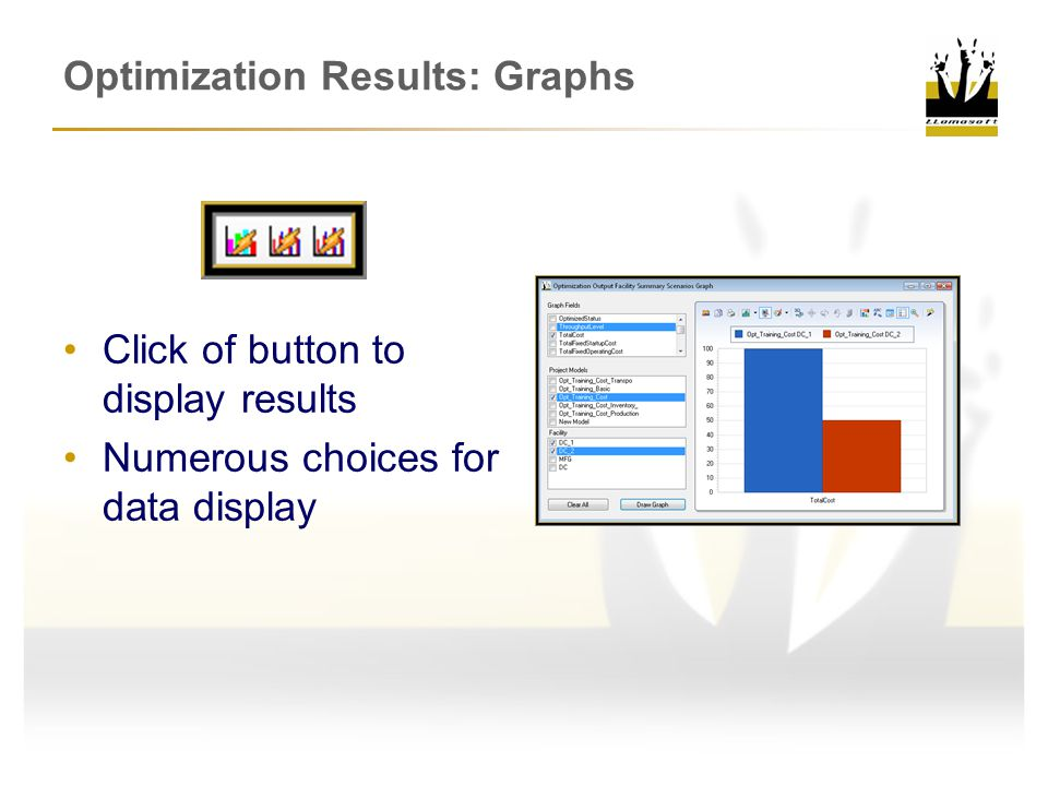 Optimization Results: Graphs Click of button to display results Numerous choices for data display
