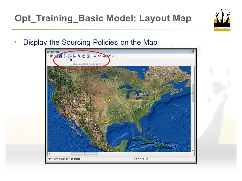 Opt_Training_Basic Model: Layout Map Display the Sourcing Policies on the Map