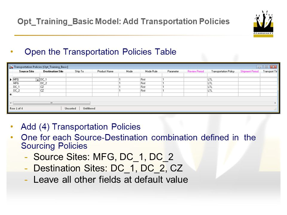 Opt_Training_Basic Model: Add Transportation Policies Add (4) Transportation Policies One for each Source-Destination combination defined in the Sourcing Policies -Source Sites: MFG, DC_1, DC_2 -Destination Sites: DC_1, DC_2, CZ -Leave all other fields at default value Open the Transportation Policies Table