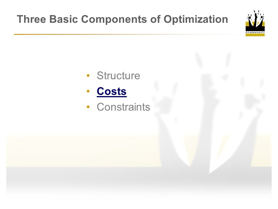Three Basic Components of Optimization Structure Costs Constraints