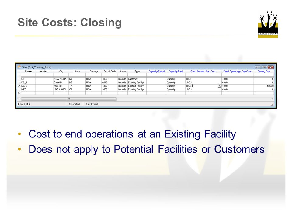 Site Costs: Closing Cost to end operations at an Existing Facility Does not apply to Potential Facilities or Customers