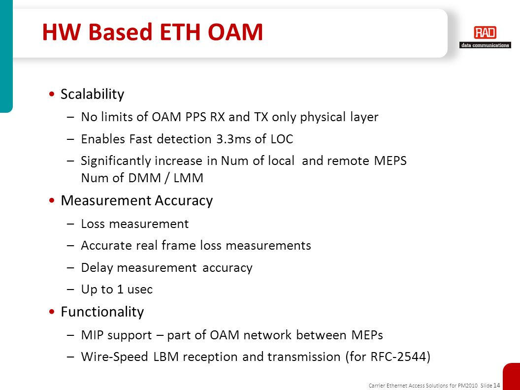 Carrier Ethernet Access Solutions for PM2010 Slide 14 HW Based ETH OAM Scalability –No limits of OAM PPS RX and TX only physical layer –Enables Fast d