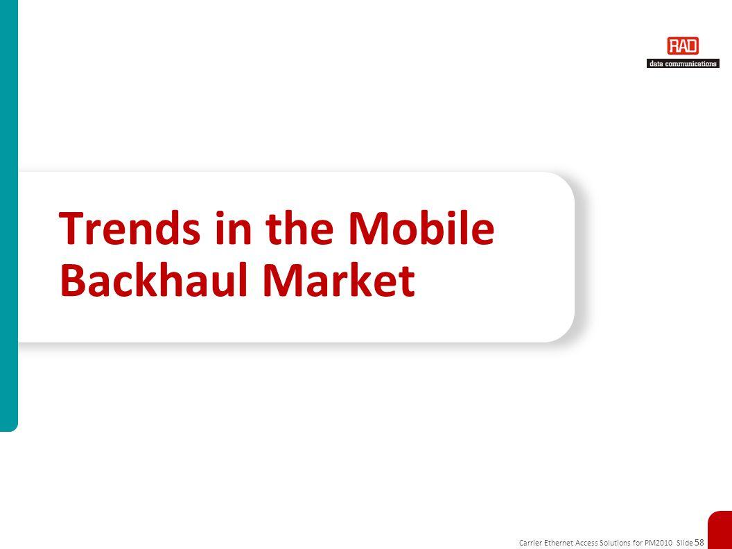 Carrier Ethernet Access Solutions for PM2010 Slide 58 Trends in the Mobile Backhaul Market