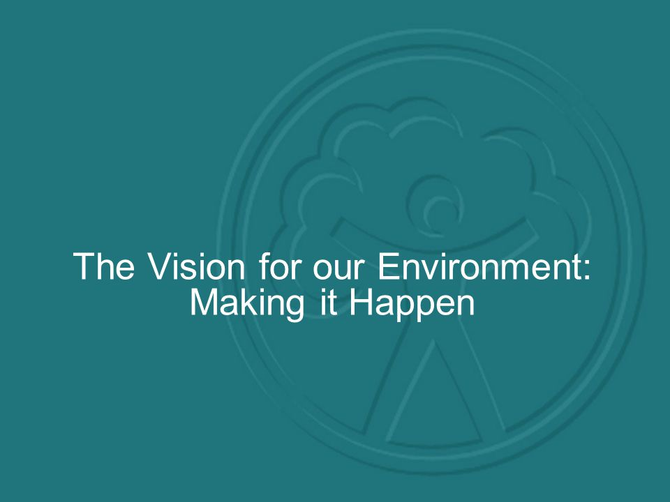 The Vision for our Environment: Making it Happen