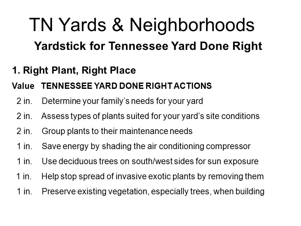 TN Yards & Neighborhoods Yardstick for Tennessee Yard Done Right 1.