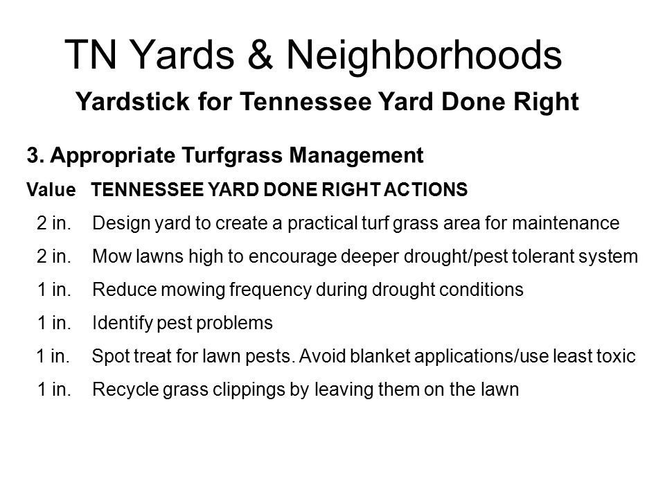 TN Yards & Neighborhoods Yardstick for Tennessee Yard Done Right 3.