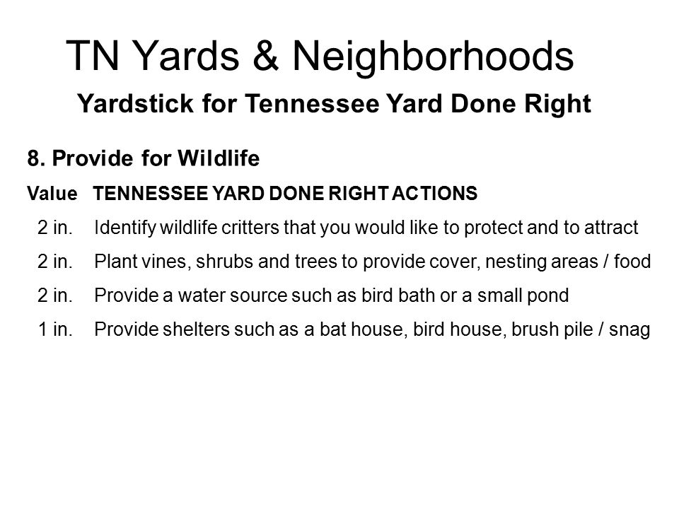 TN Yards & Neighborhoods Yardstick for Tennessee Yard Done Right 8.