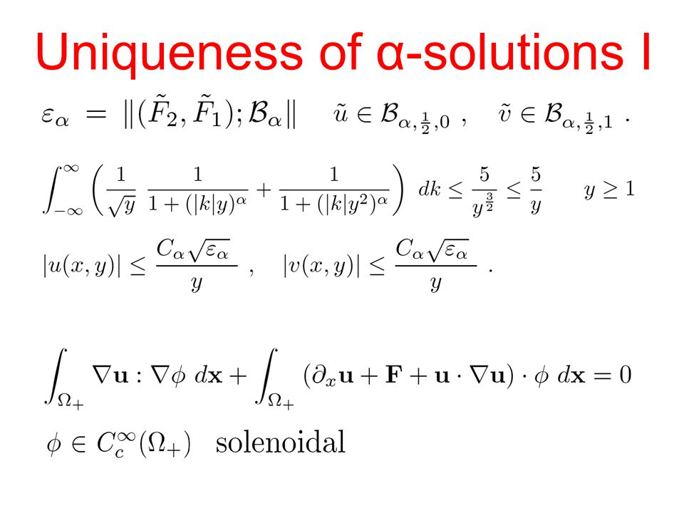 Uniqueness of α-solutions I