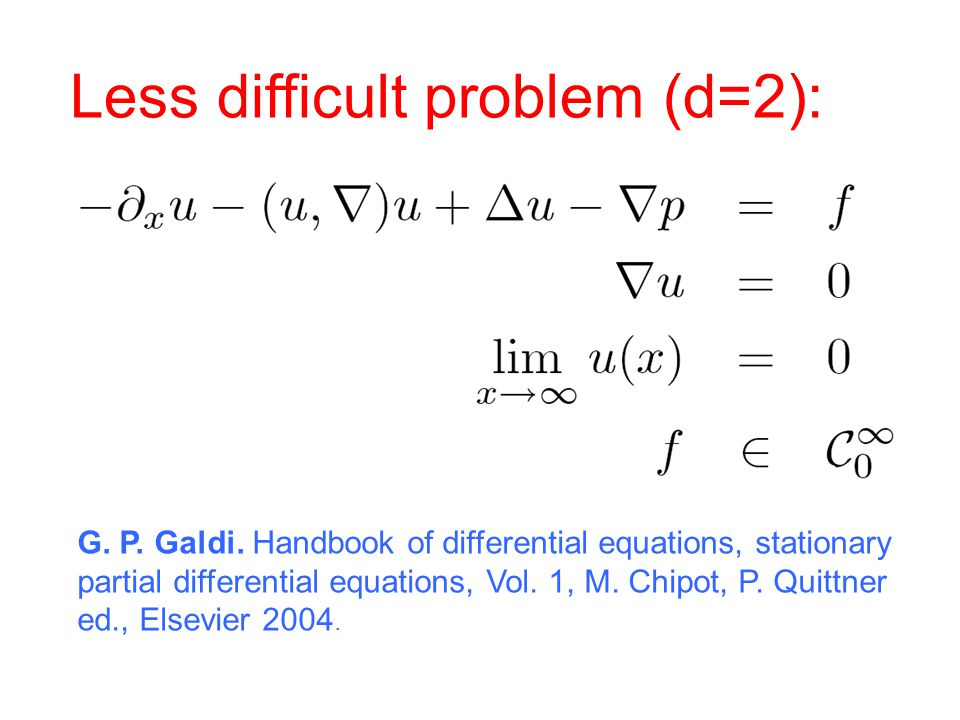 Less difficult problem (d=2): G. P. Galdi. Handbook of differential equations, stationary partial differential equations, Vol. 1, M. Chipot, P. Quittn