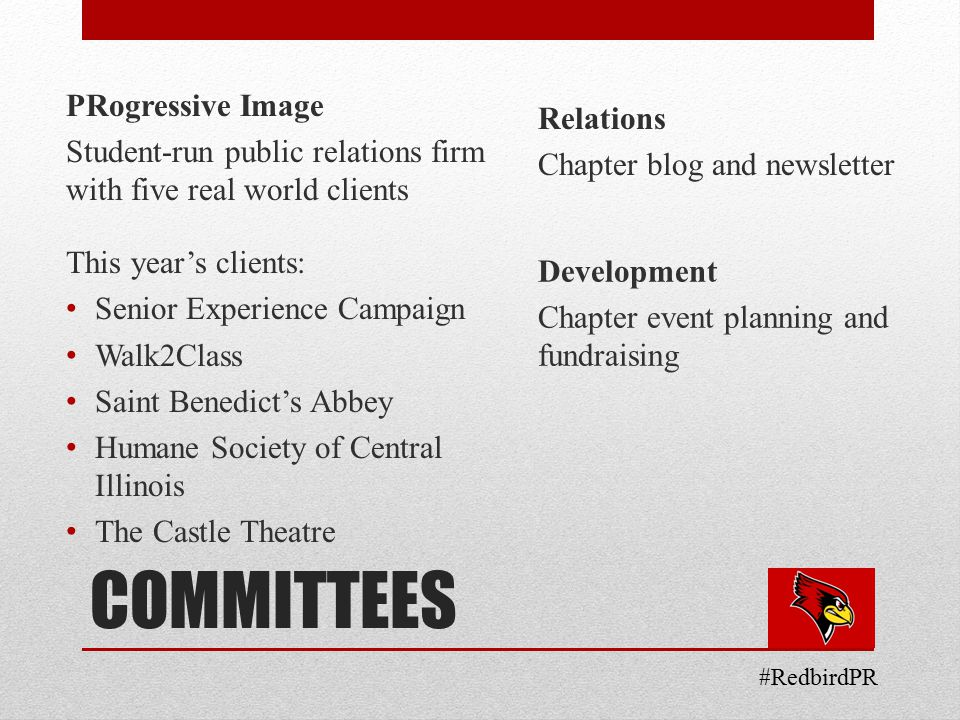 COMMITTEES PRogressive Image Student-run public relations firm with five real world clients This year's clients: Senior Experience Campaign Walk2Class Saint Benedict's Abbey Humane Society of Central Illinois The Castle Theatre Relations Chapter blog and newsletter Development Chapter event planning and fundraising #RedbirdPR