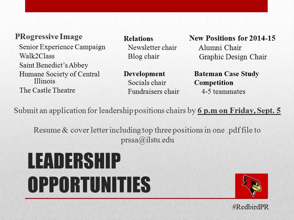 LEADERSHIP OPPORTUNITIES PRogressive Image Senior Experience Campaign Walk2Class Saint Benedict's Abbey Humane Society of Central Illinois The Castle Theatre Submit an application for leadership positions chairs by 6 p.m on Friday, Sept.