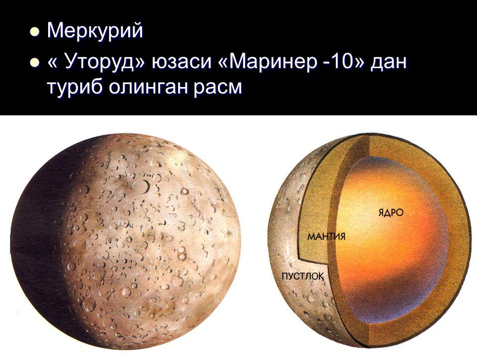 Меркурий Меркурий « Уторуд» юзаси «Маринер -10» дан туриб олинган расм « Уторуд» юзаси «Маринер -10» дан туриб олинган расм