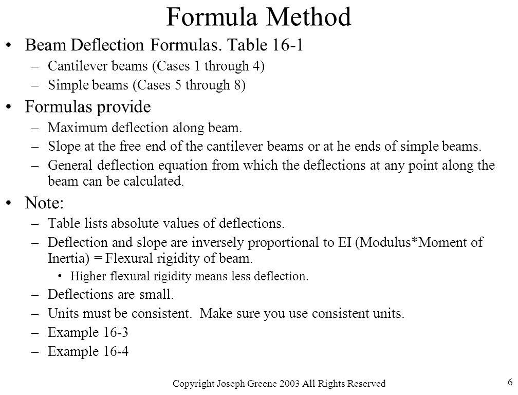 Copyright Joseph Greene 2003 All Rights Reserved 6 Formula Method Beam Deflection Formulas.
