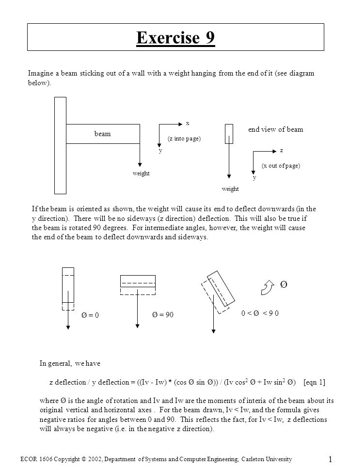 ECOR 1606 Copyright © 2002, Department of Systems and Computer Engineering, Carleton University 1 Exercise 9 Imagine a beam sticking out of a wall with a weight hanging from the end of it (see diagram below).