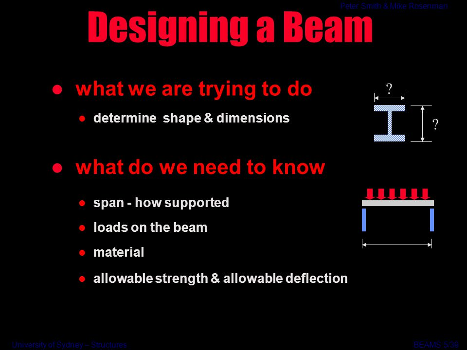 University of Sydney – Structures BEAMS Peter Smith & Mike Rosenman Designing a Beam l what we are trying to do l determine shape & dimensions l what