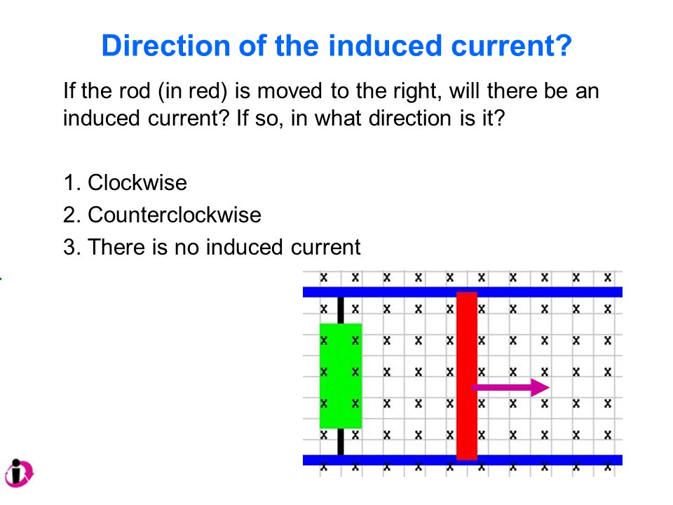 Direction of the induced current? If the rod (in red) is moved to the right, will there be an induced current? If so, in what direction is it? 1. Cloc