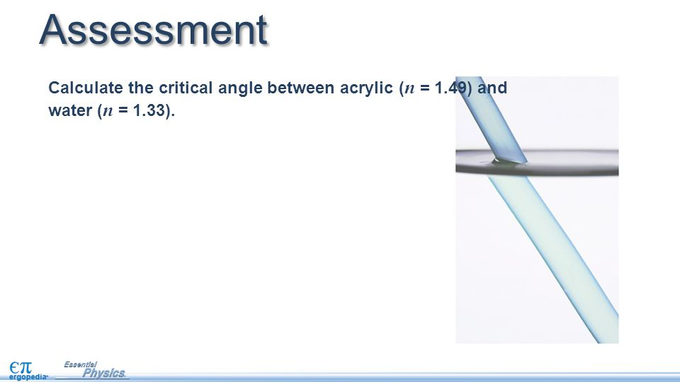 Assessment Calculate the critical angle between acrylic ( n = 1.49) and water ( n = 1.33).