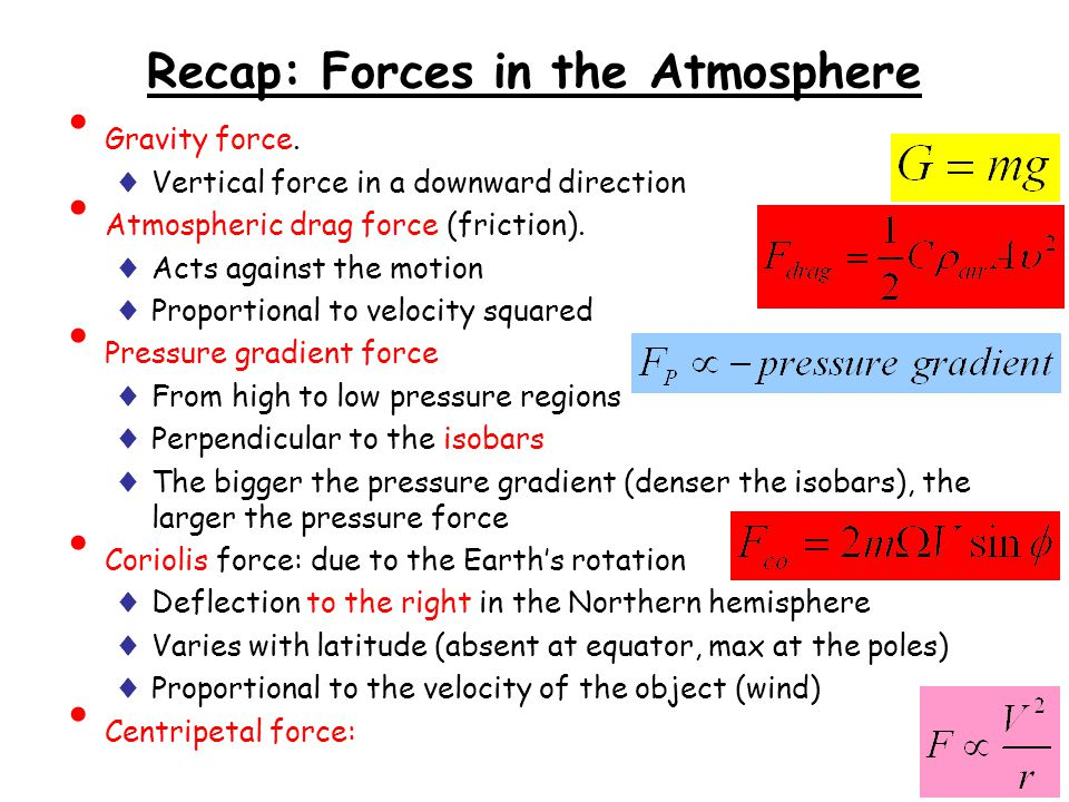 Recap: Forces in the Atmosphere Gravity force. ♦ Vertical force in a downward direction Atmospheric drag force (friction). ♦ Acts against the motion ♦