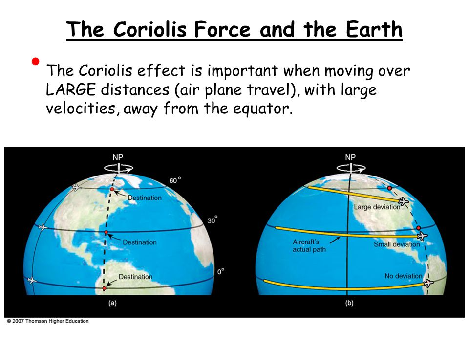 The Coriolis Force and the Earth The Coriolis effect is important when moving over LARGE distances (air plane travel), with large velocities, away from the equator.