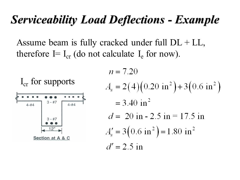 Serviceability Load Deflections - Example Assume beam is fully cracked under full DL + LL, therefore I= I cr (do not calculate I e for now). I cr for