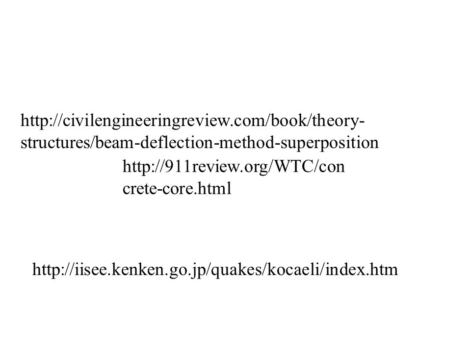 http://civilengineeringreview.com/book/theory- structures/beam-deflection-method-superposition http://911review.org/WTC/con crete-core.html http://iis