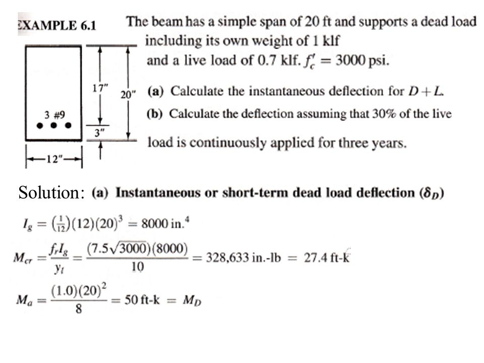 Serviceability Load Deflections - Example Calculate additional short-term Deflections (full DL & LL) Let M c = M a = - 2000 k-in for simplicity see problem statement