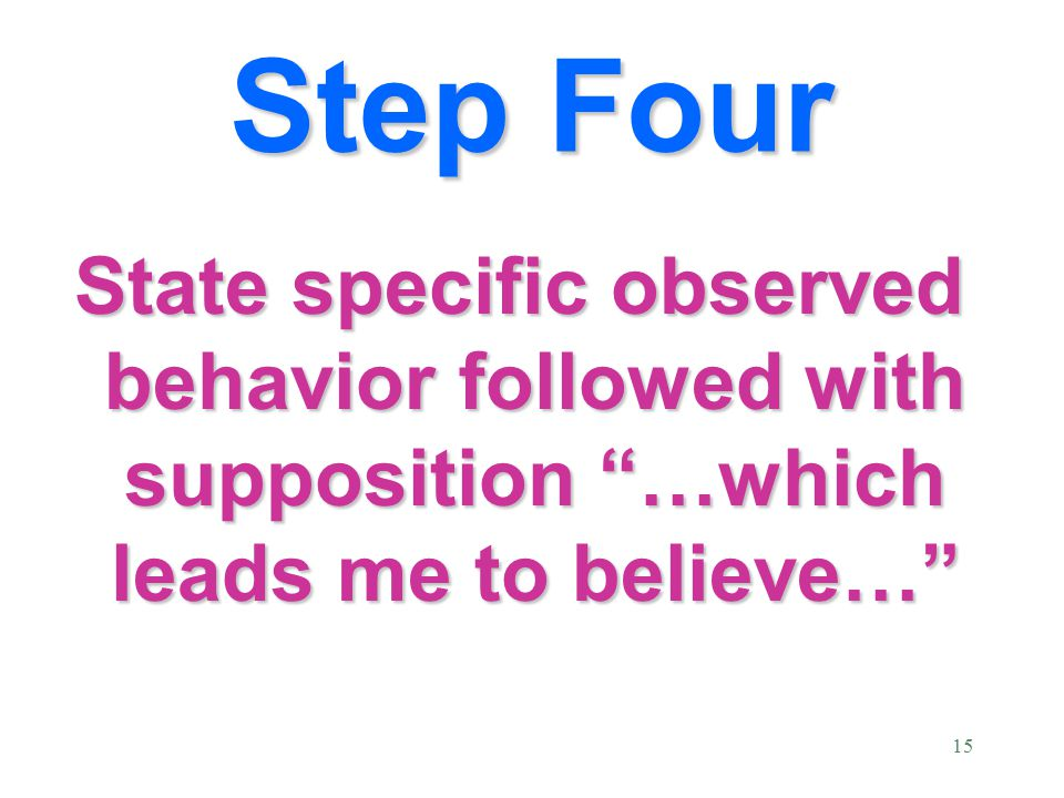 15 State specific observed behavior followed with supposition …which leads me to believe… Step Four
