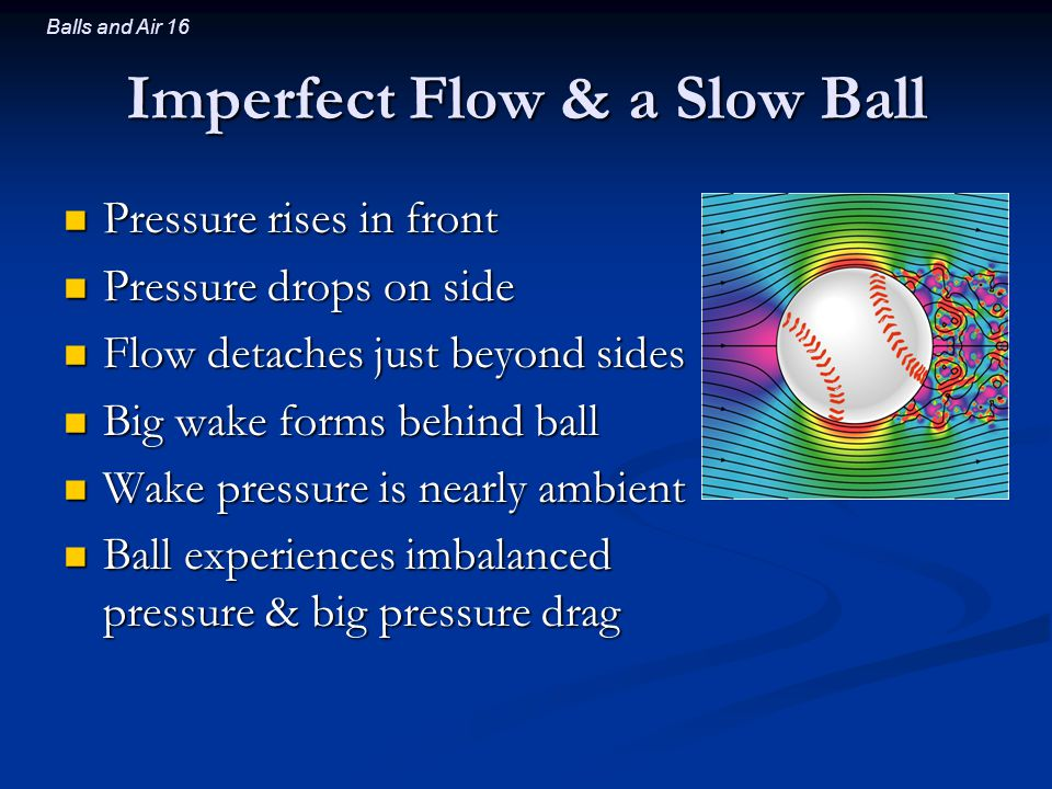 Balls and Air 16 Imperfect Flow & a Slow Ball Pressure rises in front Pressure rises in front Pressure drops on side Pressure drops on side Flow detaches just beyond sides Flow detaches just beyond sides Big wake forms behind ball Big wake forms behind ball Wake pressure is nearly ambient Wake pressure is nearly ambient Ball experiences imbalanced pressure & big pressure drag Ball experiences imbalanced pressure & big pressure drag