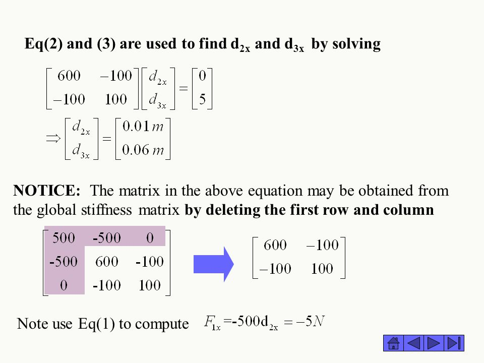 Eq(2) and (3) are used to find d 2x and d 3x by solving Note use Eq(1) to compute NOTICE: The matrix in the above equation may be obtained from the gl