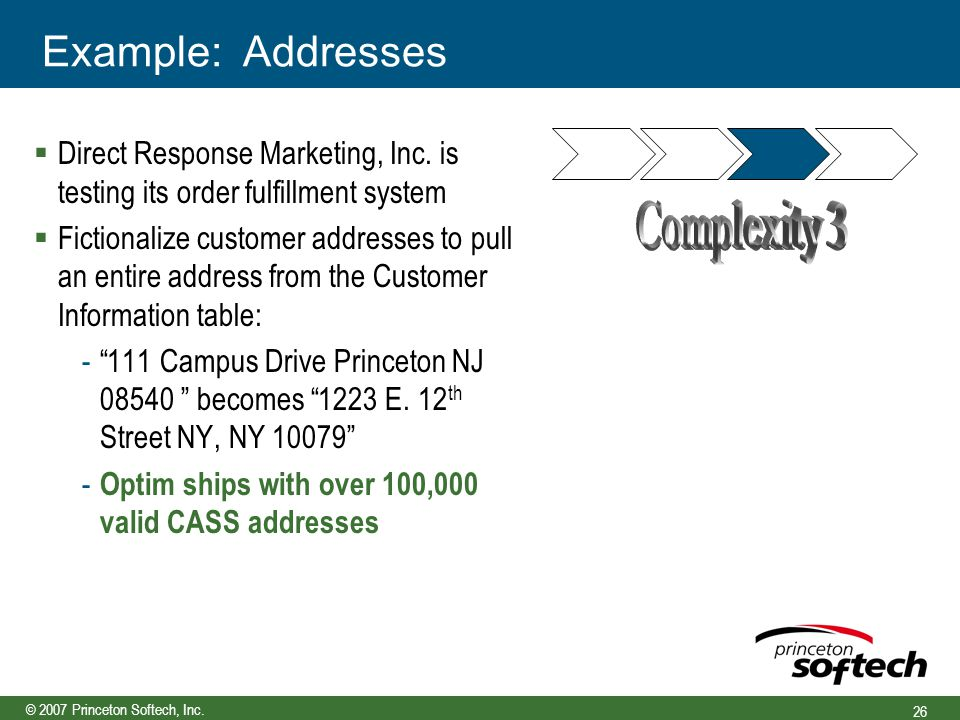 © 2007 Princeton Softech, Inc. 26 Example: Addresses  Direct Response Marketing, Inc.